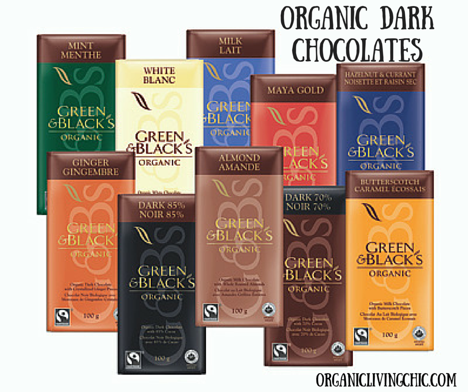 organic chocolates, organic dark chocolate, organic living chic, The Healthiest Gift for Valentine's Day, green & black organic dark chocolate