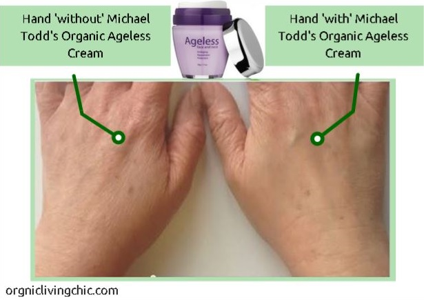 Comparing of hands, organic skin care product, organic cosmetics, organic living, michael todd true organic