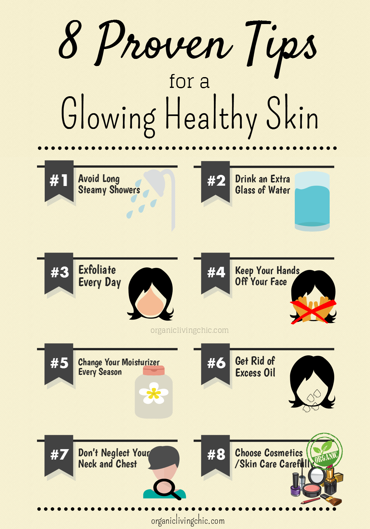 8 proven tips for healthy glowing skin, tips for glowing skin, organic living chic infographic, tips for healthy skin, how to keep skin glowing, organic skin care tips, organic cosmetics