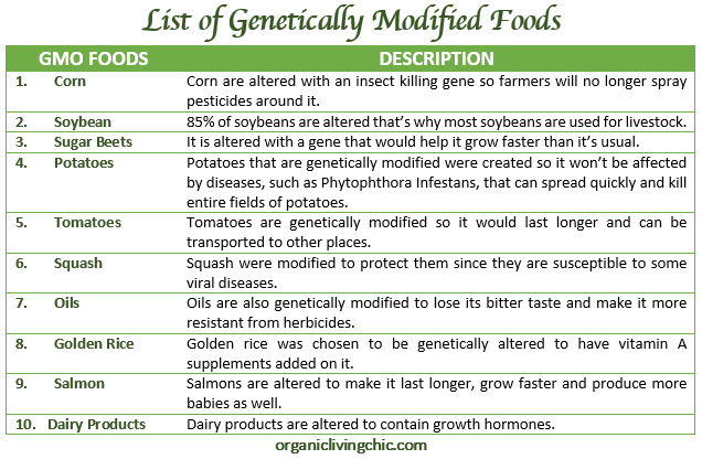 List of Genetically Modified Foods, table, organic living chic, gmo, gmo table, avoid this foods, organic living chic
